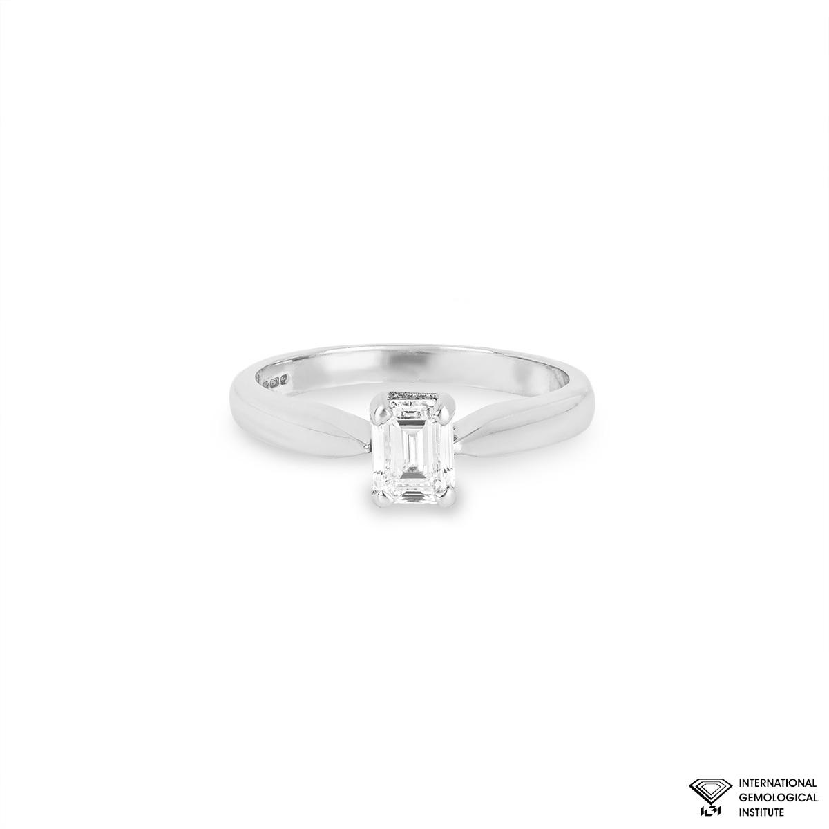 18WG 0.73ct Emerald Cut Diamond Single Stone Ring